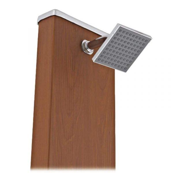 Ducha solar cuadrada Gre aspecto madera con lavapies