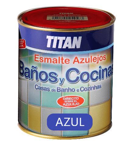 Esmalte Azulejo Satinado  azul - COCINAS/BAÑO TITAN - 750 ML