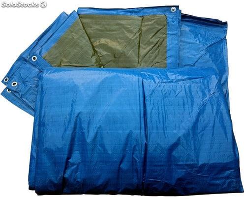 Toldo Polietileno Azul/verde Reforzado 140gr. con ojales
