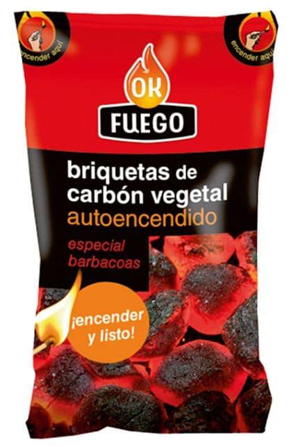 Briquetas de carbon vegetal OK FUEGO AUTOENCENDIDO 1.5KG