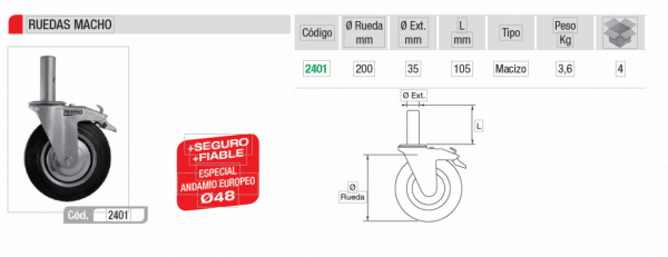 Rueda Andamio tradicional Amarre macho 35mm IMCOINSA rueda 200 MM CON FRENO,theca 2401