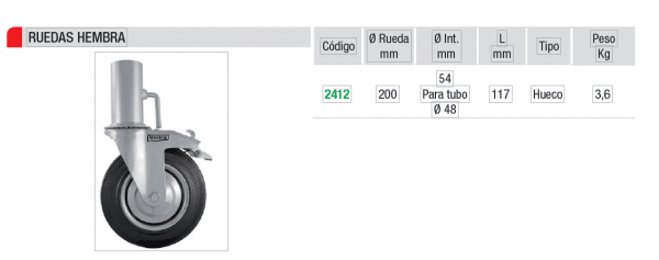 Rueda Andamio europeo Amarre hembra 54mm IMCOINSA rueda 200 MM CON FRENO,theca 2412
